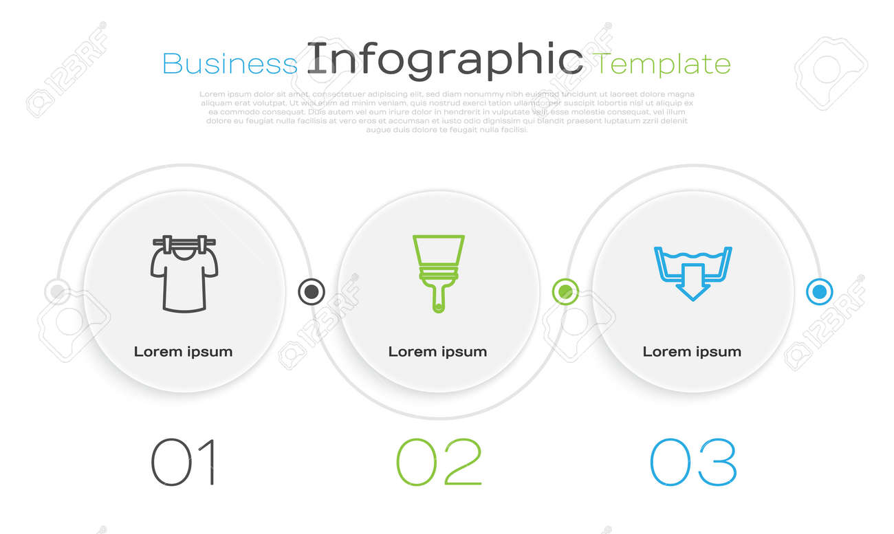 Set line Drying clothes, Rubber cleaner for windows and Washing modes. Business infographic template. Vector - 171523025