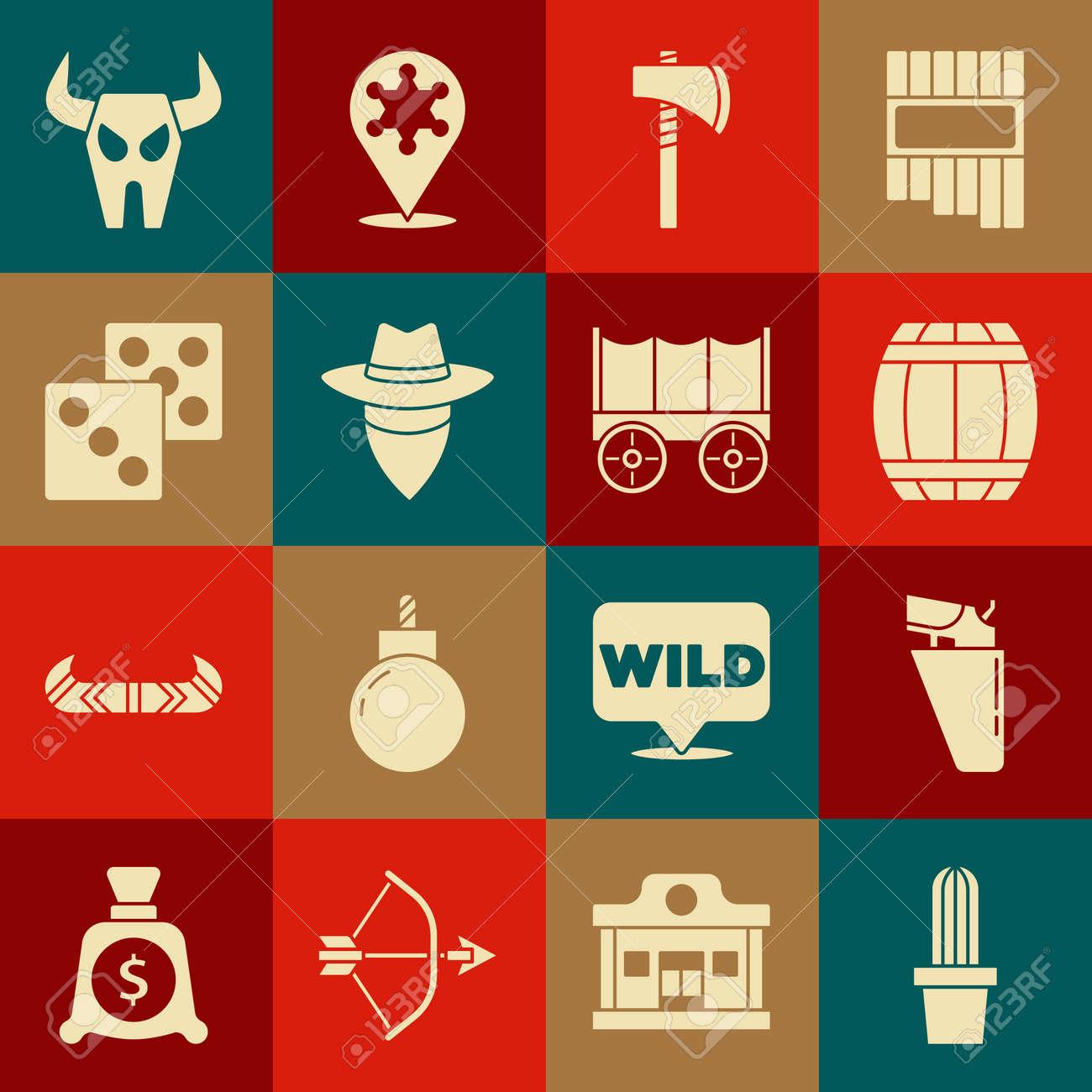 Set Cactus peyote in pot, Revolver gun holster, Gun powder barrel, Tomahawk axe, Cowboy, Game dice, Buffalo skull and Wild west covered wagon icon. Vector - 173396177