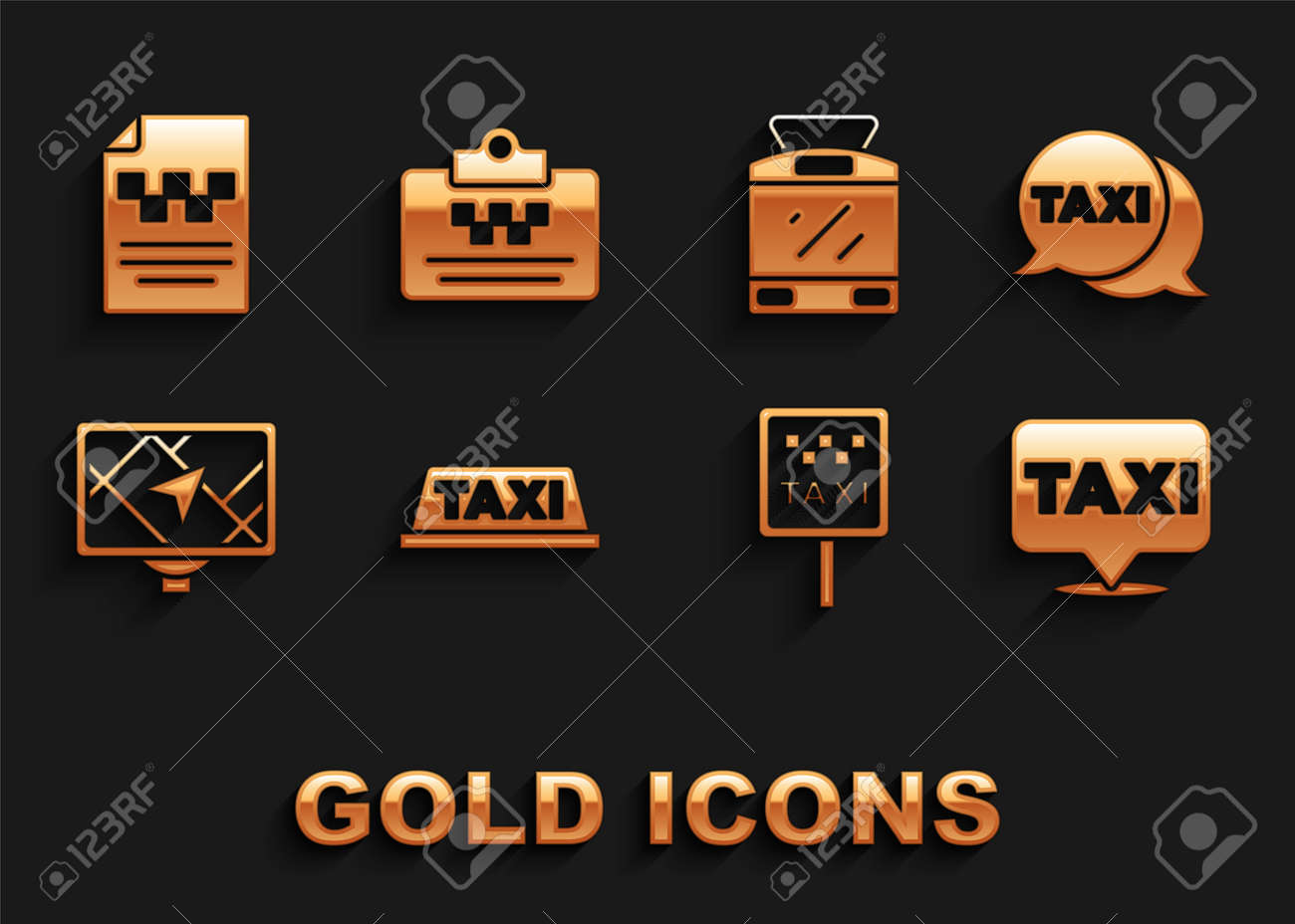 Set Taxi car roof, call telephone service, Location with taxi, Road sign for stand, Gps device map, Tram railway, driver license and icon. Vector - 173396180