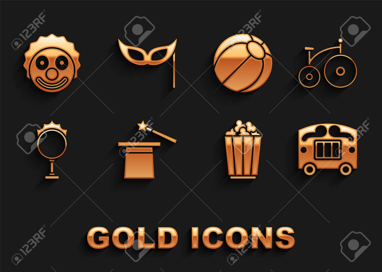 Set Magic hat and wand, Vintage bicycle, Circus wagon, Popcorn box, fire hoop, Beach ball, Clown head and Festive mask icon. Vector - 173396190