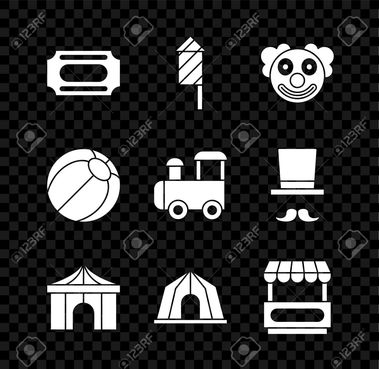 Set Circus ticket, Firework rocket, Clown head, tent, Fast street food cart, Beach ball and Toy train icon. Vector - 173396192