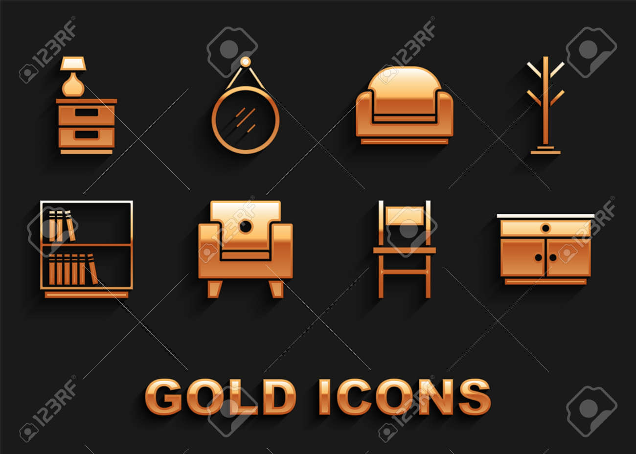 Set Armchair, Coat stand, Furniture nightstand, Chair, Library bookshelf, with lamp and Mirror icon. Vector - 173396154