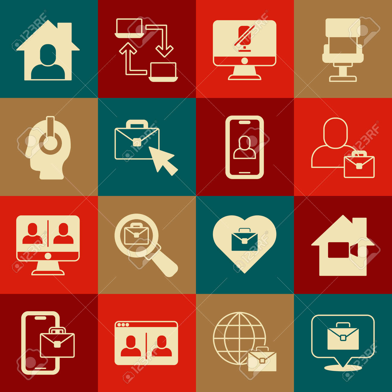 Set Online working, Video camera Off home, Freelancer, Mute microphone on computer, and chat conference icon. Vector - 173396169