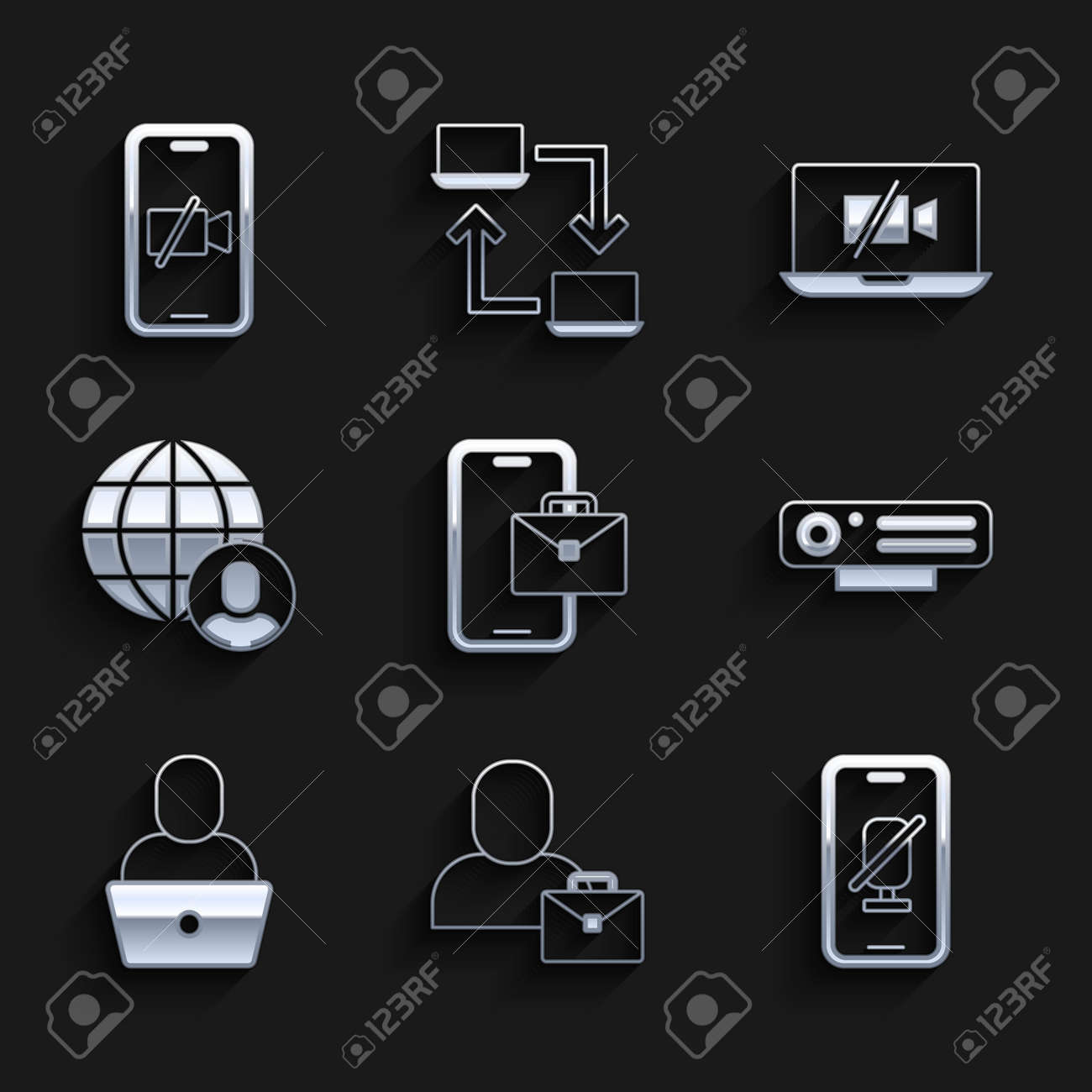 Set Freelancer, Mute microphone on mobile, Web camera, Video Off laptop and icon. Vector - 173396157