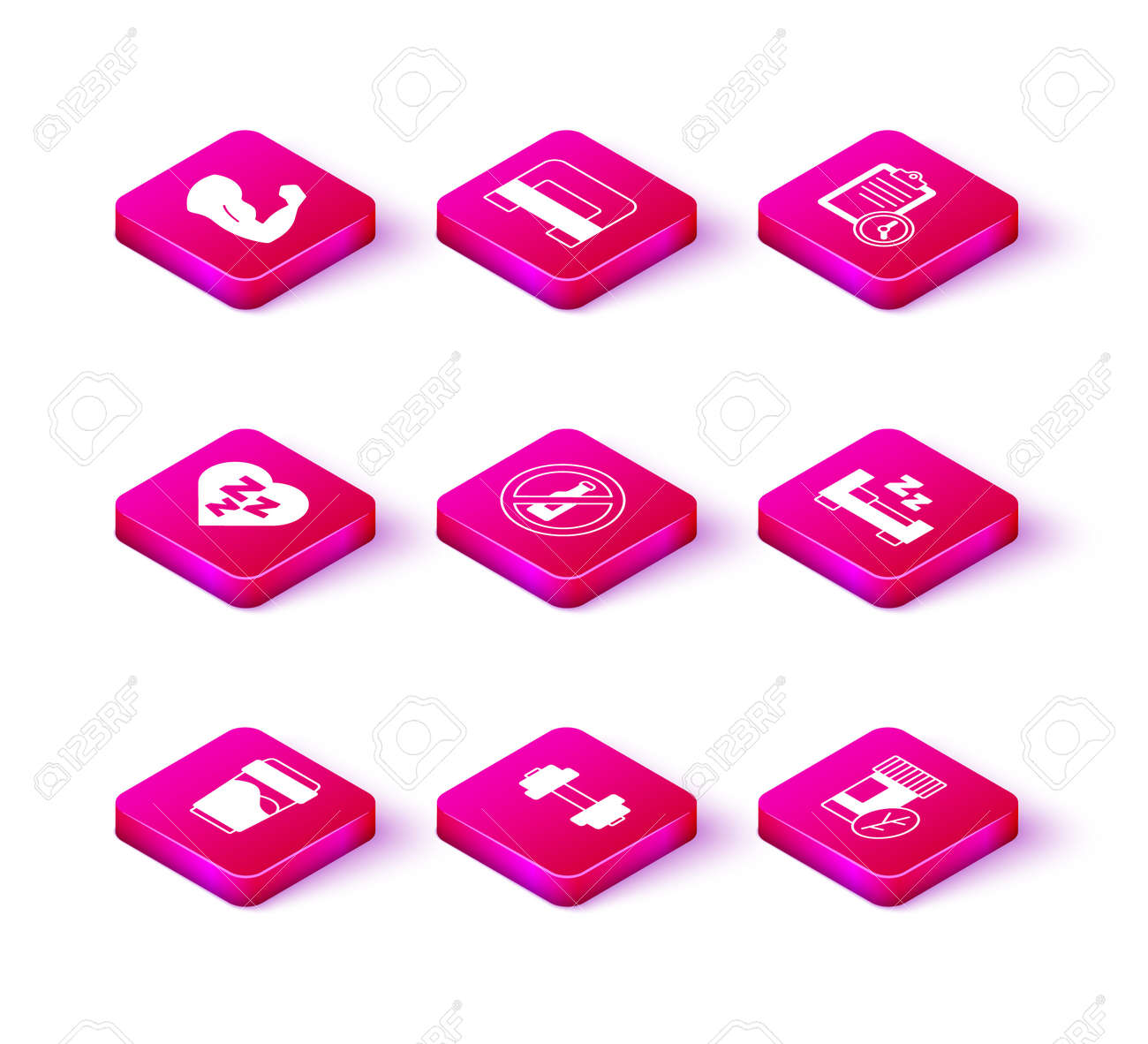 Set Glass with water, Dumbbell, Sleepy, No alcohol, Vitamin pill, Time to sleep, Sport training program and Big bed icon. Vector - 173396162