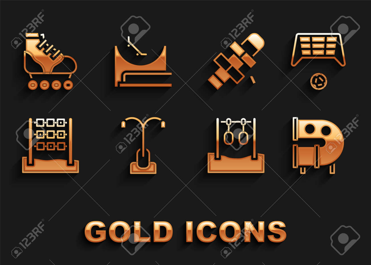 Set Street light, Soccer goal with ball, Kid playground slide pipe, Gymnastic rings, Tic tac toe game, Hopscotch, Roller skate and Skate park icon. Vector - 173396218