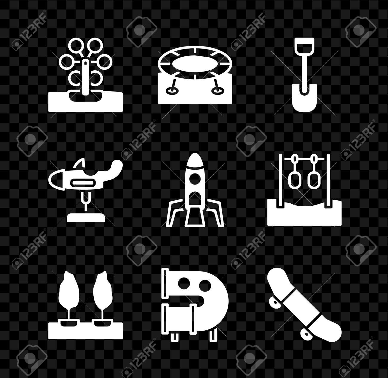 Set Ferris wheel, Jumping trampoline, Shovel toy, Forest, Kid playground slide pipe, Skateboard trick, Swing plane and Rocket ship icon. Vector - 173396221