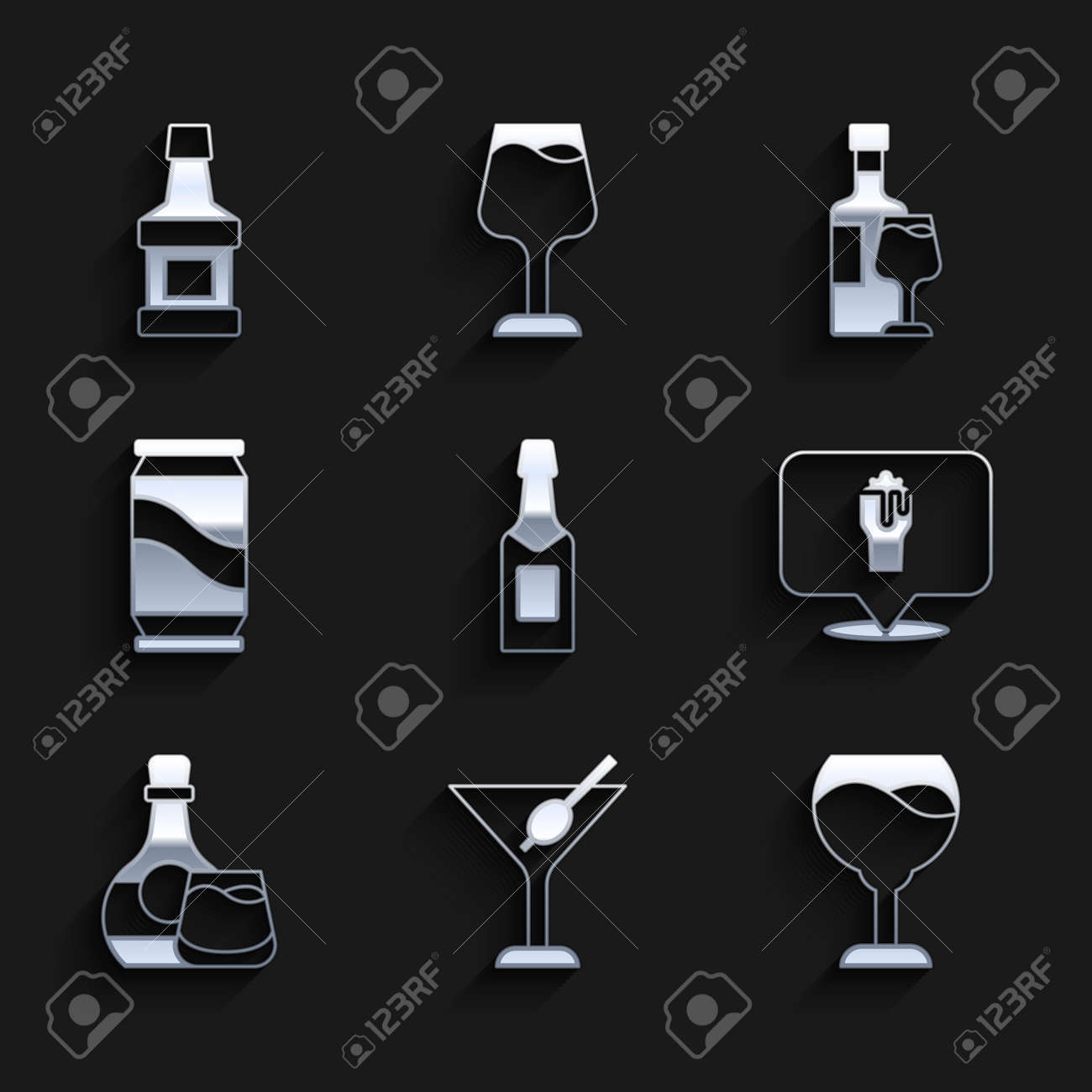 Set Champagne bottle, Martini glass, Wine, Alcohol or beer bar location, Whiskey and, Beer can, with and icon. Vector - 173396222