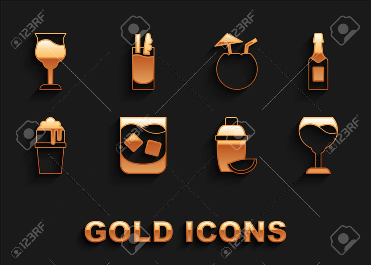 Set Glass of whiskey, Champagne bottle, Wine glass, Cocktail shaker with lime, beer, Coconut cocktail, and Bloody Mary icon. Vector - 173396233