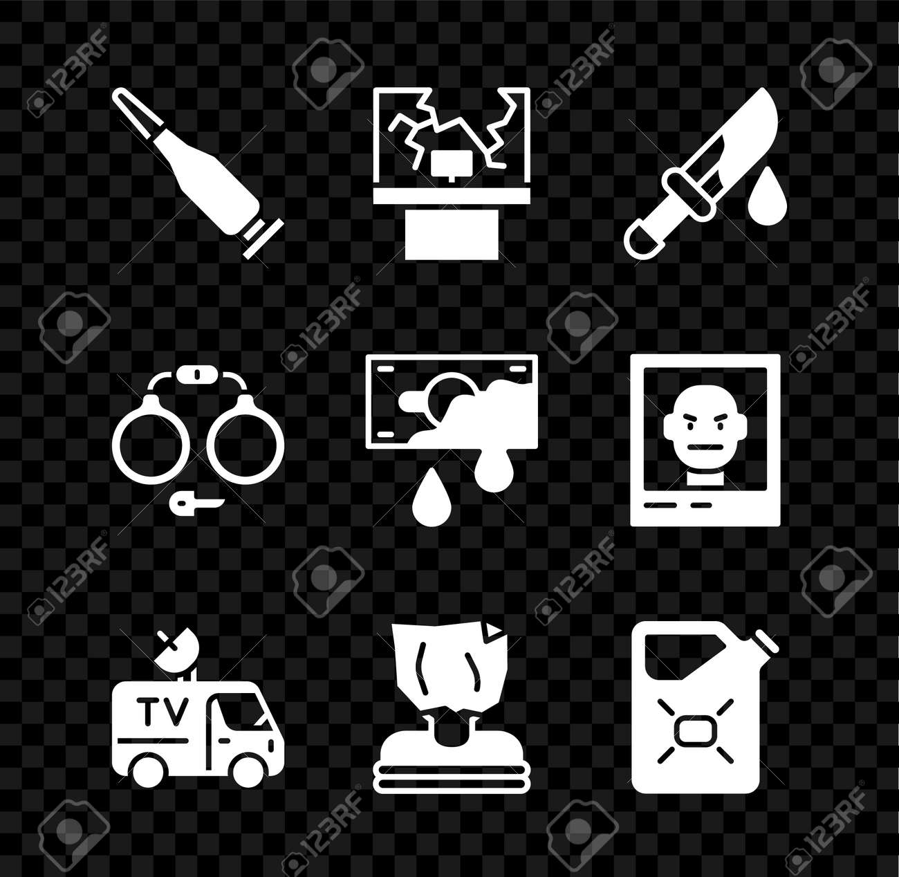Set Bullet, Broken window, Bloody knife, TV News car, Kidnaping, Canister fuel, Handcuffs and money icon. Vector - 173396232