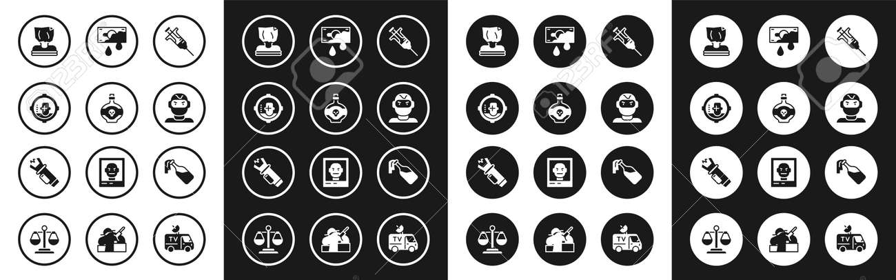 Set Syringe, Poison bottle, Headshot, Kidnaping, Thief mask, Bloody money, Cocktail molotov and Police electric shocker icon. Vector - 173396231