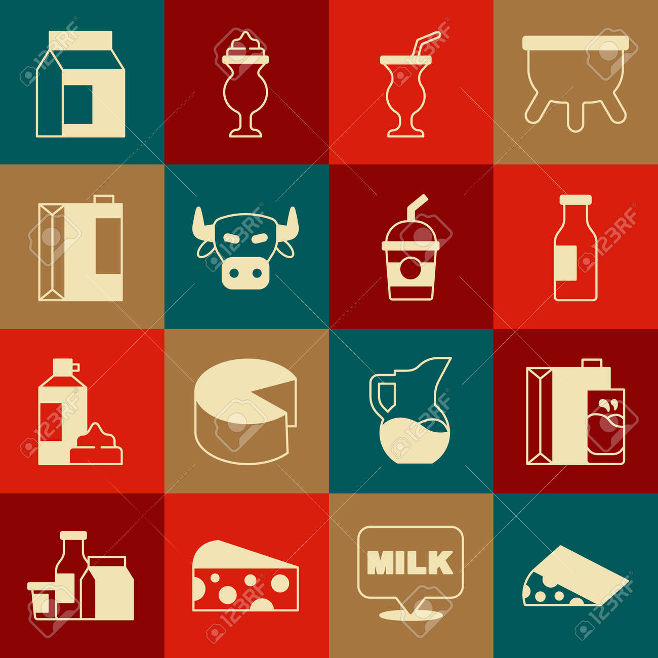 Set Cheese, Paper package for milk, Bottle with, Milkshake, Cow head, kefir, and icon. Vector - 173396235