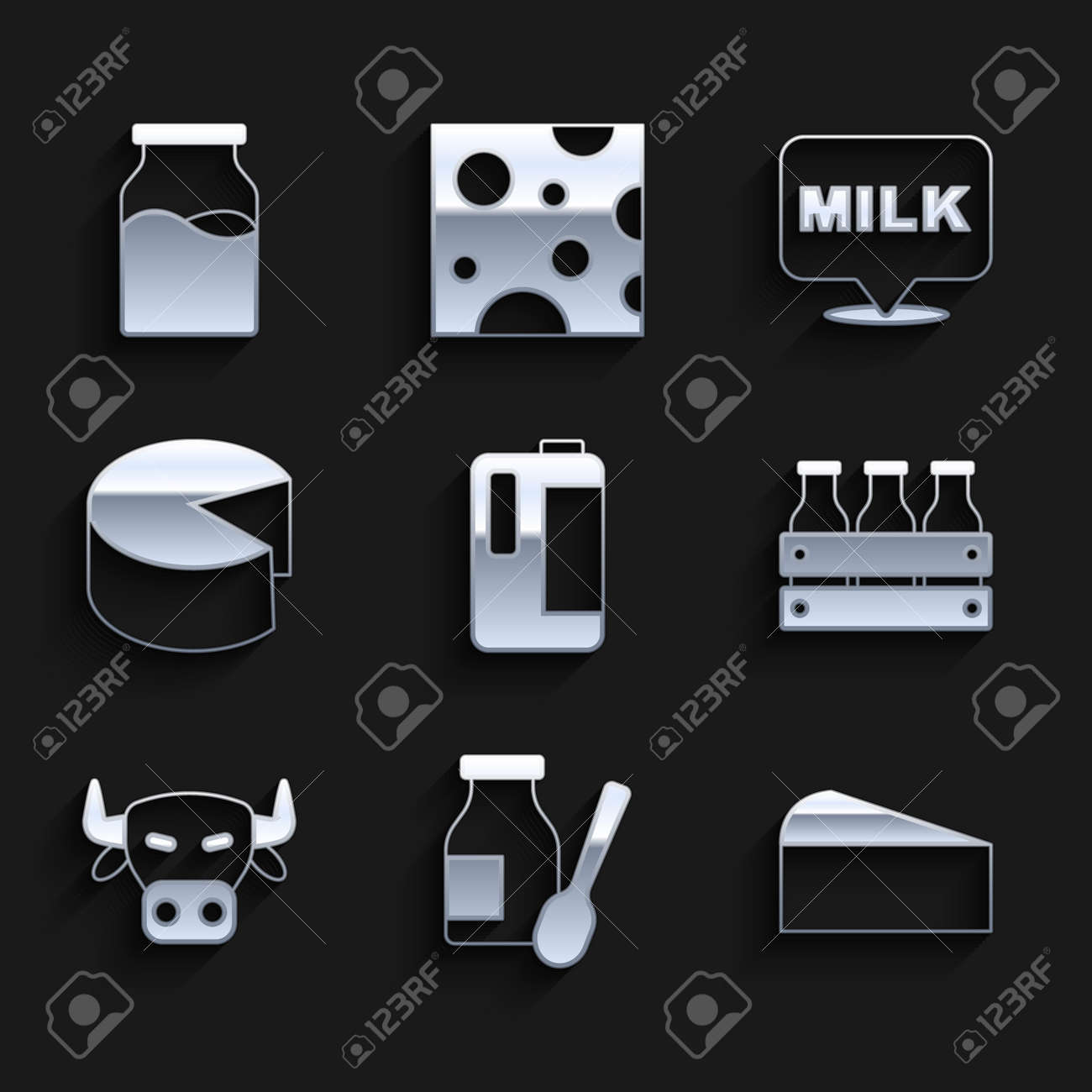 Set Milk in plastic bottle, Drinking yogurt, Cheese, Bottled milk wooden box, Cow head, Lettering and with icon. Vector - 173396198