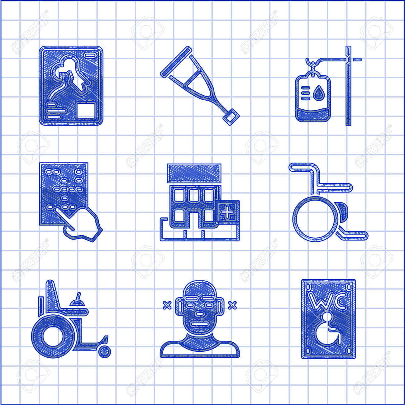 Set Medical hospital building, Deaf, Separated toilet for disabled, Wheelchair, Electric wheelchair, Braille, IV bag and X-ray shots icon. Vector - 173396208