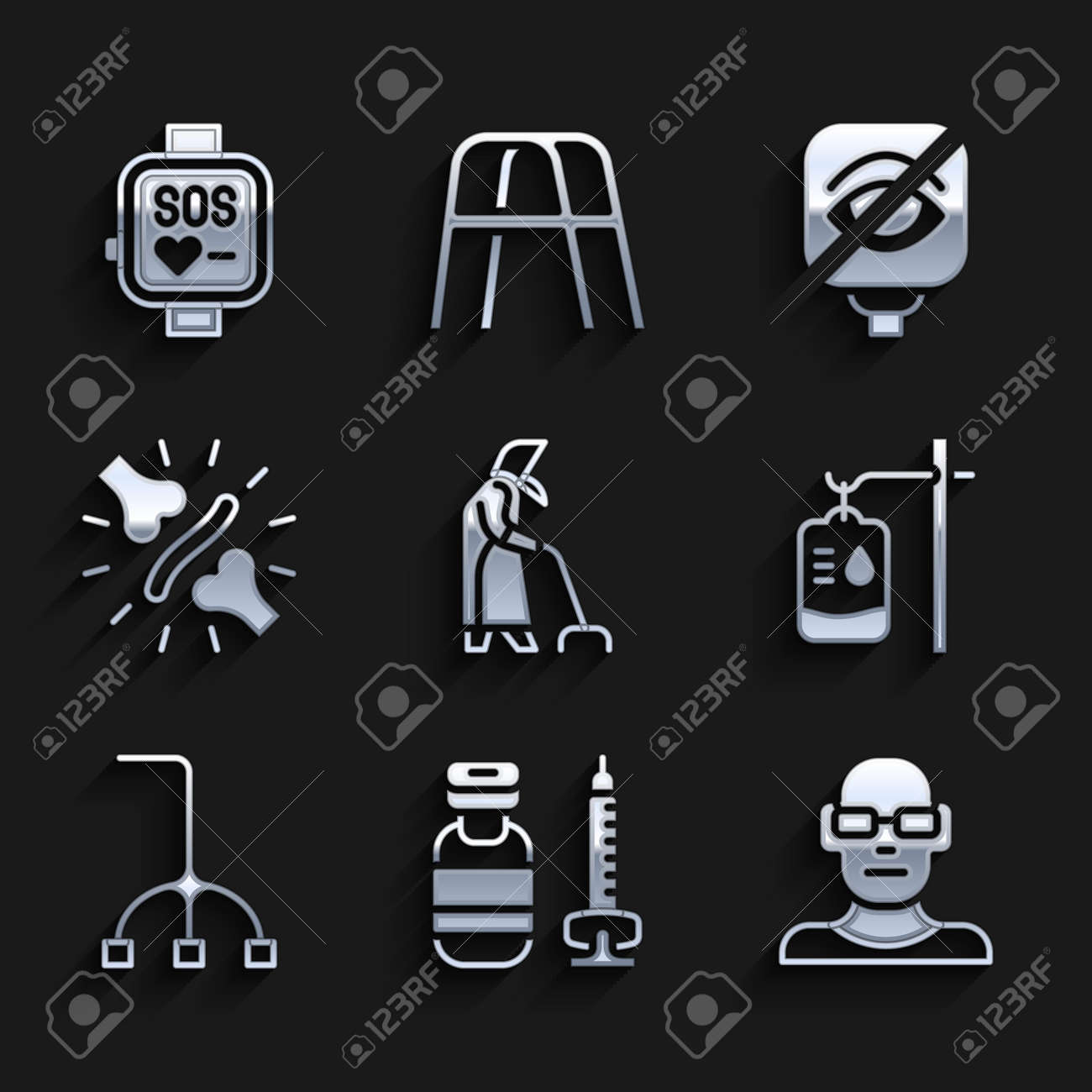 Set Grandmother, Syringe, Poor eyesight, IV bag, Walking stick cane, Joint pain, knee pain, Blindness and Smart watch icon. Vector - 173396211