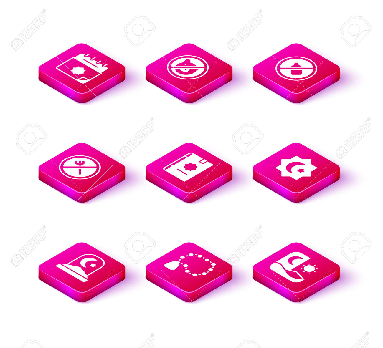 Set Muslim cemetery, Rosary beads religion, Ramadan fasting, Holy book of Koran, Octagonal star, No alcohol and pig icon. Vector - 173396246