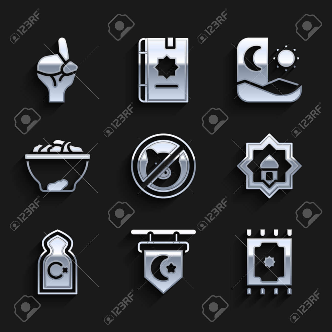 Set No pig, Star and crescent, Traditional carpet, Muslim Mosque, Date fruit in bowl, Ramadan fasting and Hands praying position icon. Vector - 173396245