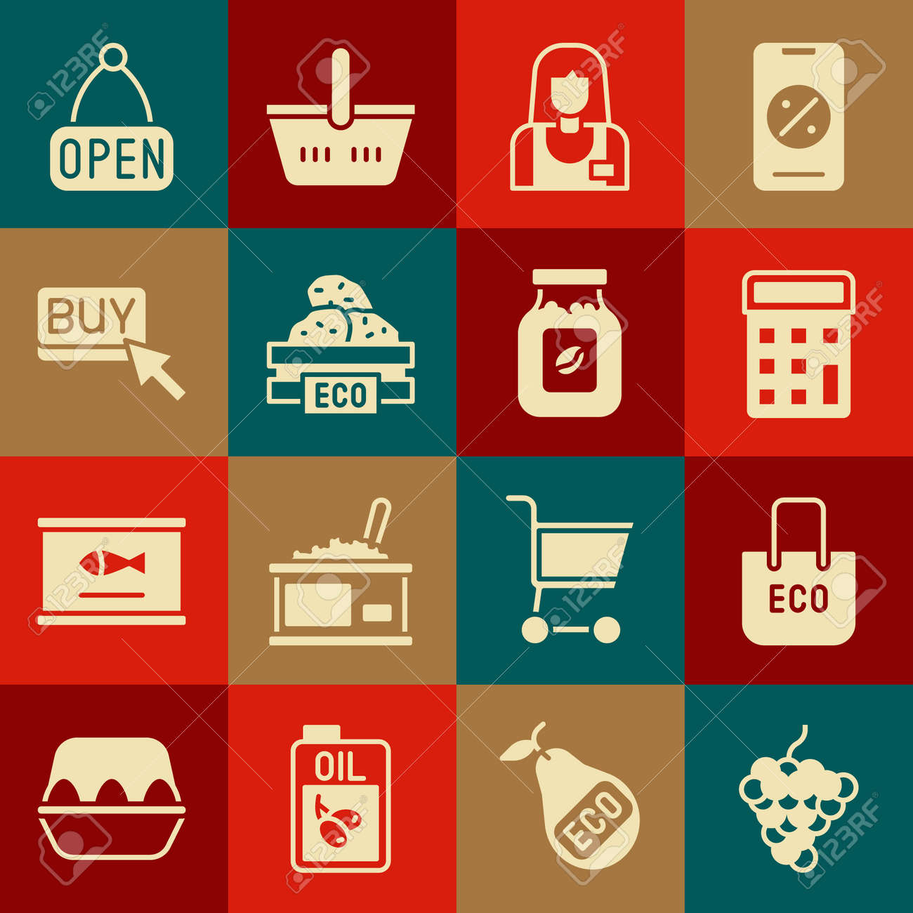 Set Grape fruit, Shopping bag with recycle, Calculator, Seller, Wooden box for fruits, Buy button, Hanging sign Open and Coffee jar bottle icon. Vector - 173396252