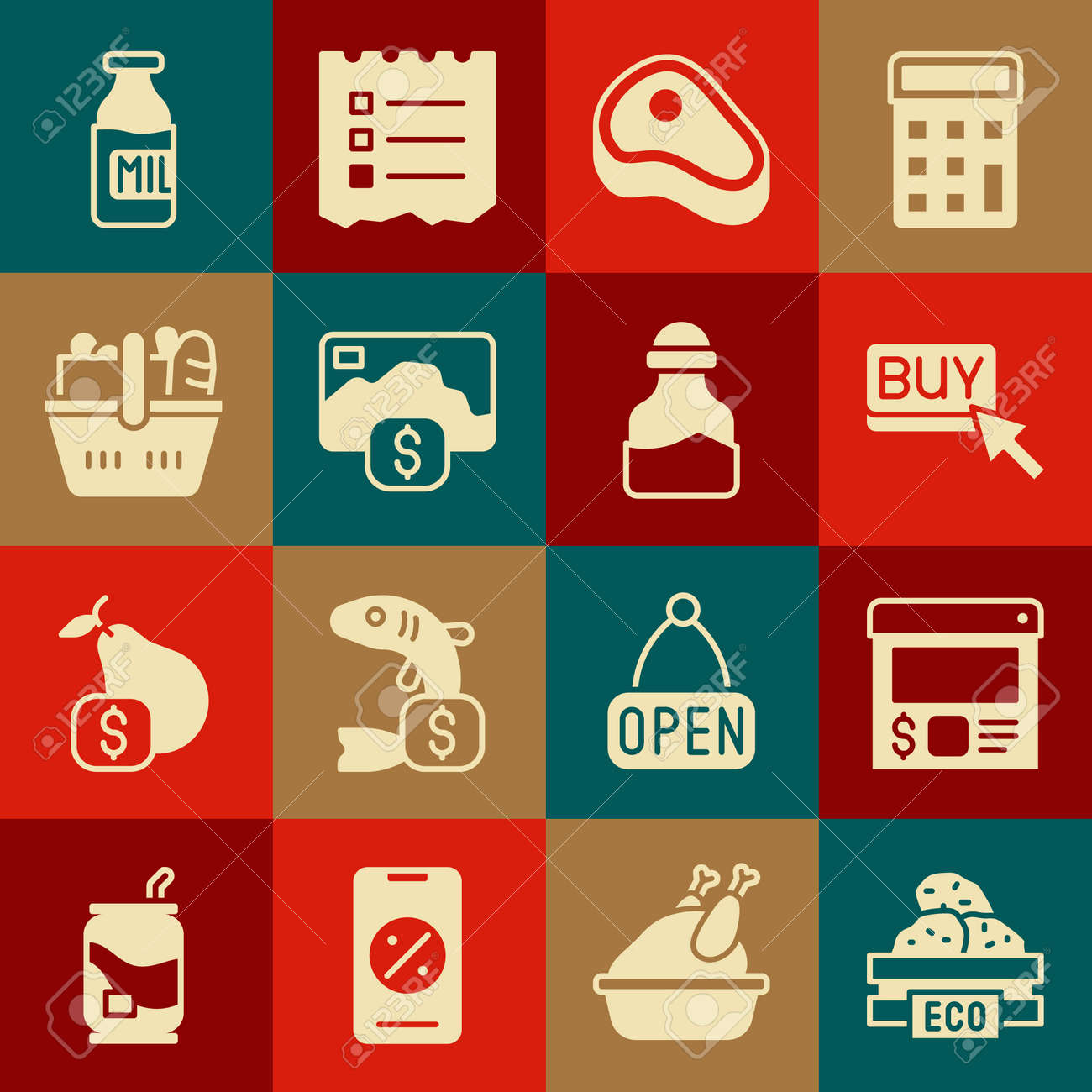 Set Wooden box for fruits, Online ordering and delivery, Buy button, Steak meat, Credit card, Shopping basket food, Bottle with milk and Spice can icon. Vector - 173396254
