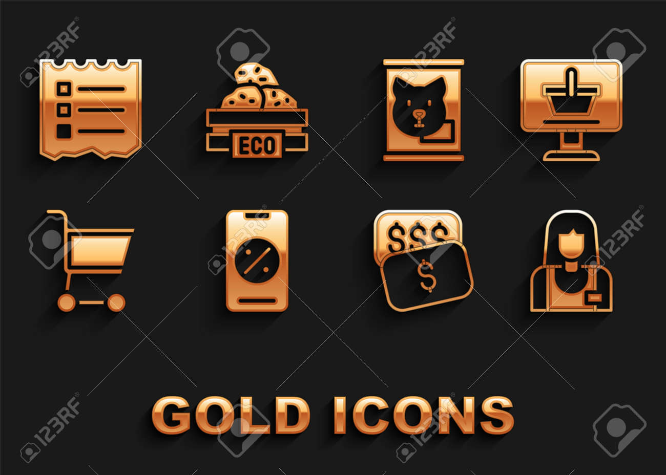 Set Percent discount and mobile, Shopping cart on computer, Seller, New price tag dollar, Canned food, list and Wooden box for fruits icon. Vector - 173396251