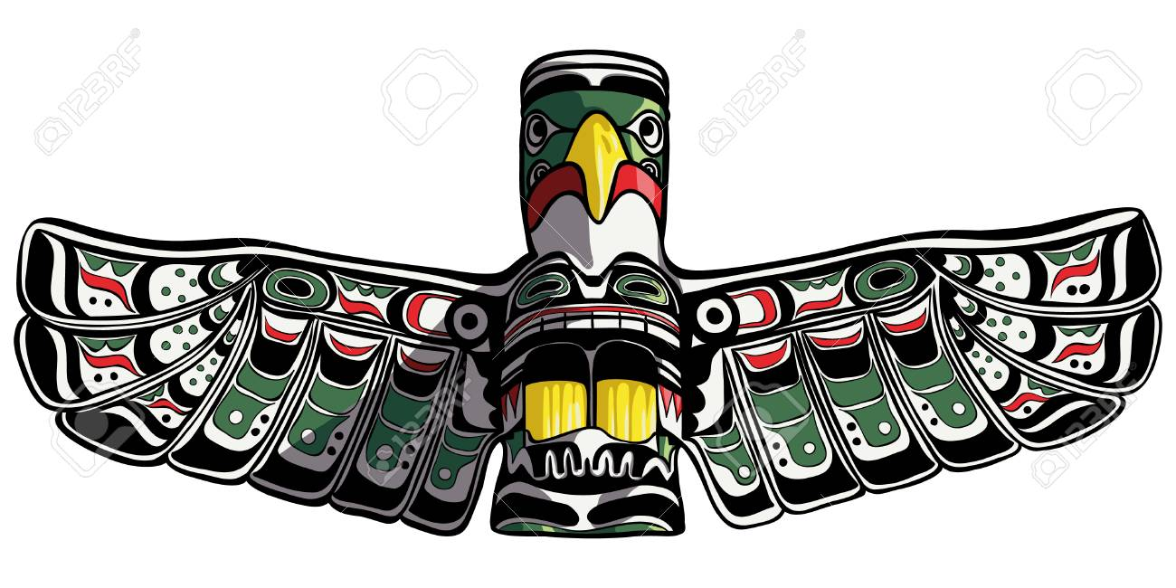 Northwest Coast Inspired Colorful Wooden Eagle Totem Pole Statue 12 And Bear By Myron Bourne