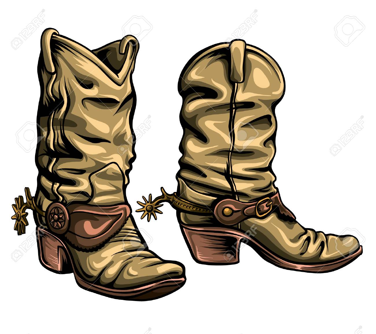Old Gringo cowboy boots vector format. Hand-drawn texan traditional shoes. - 96063227
