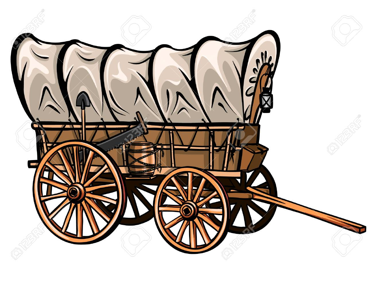 Wild west style wood covered wagon with barrel, shovel, saw and lantern. Hand-drawn western vector. - 95972599