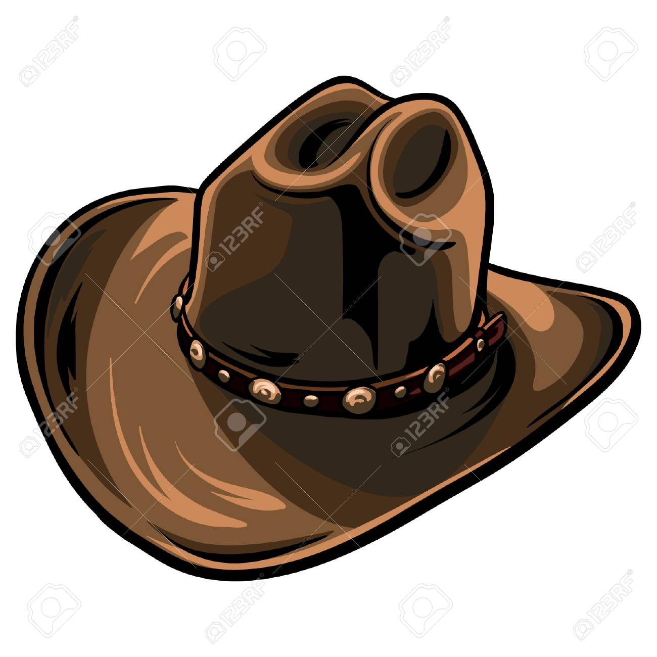 bfe3a7417a030 Brown cowboy hat with black outline. Cartoon sheriff hat vector format.  Stock Vector -