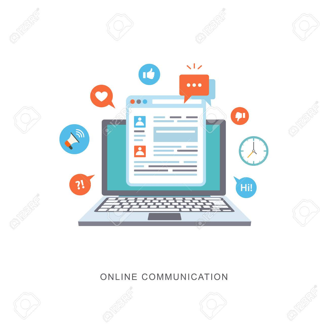Online communication flat illustration with icons. eps8 Stock Vector - 40458015