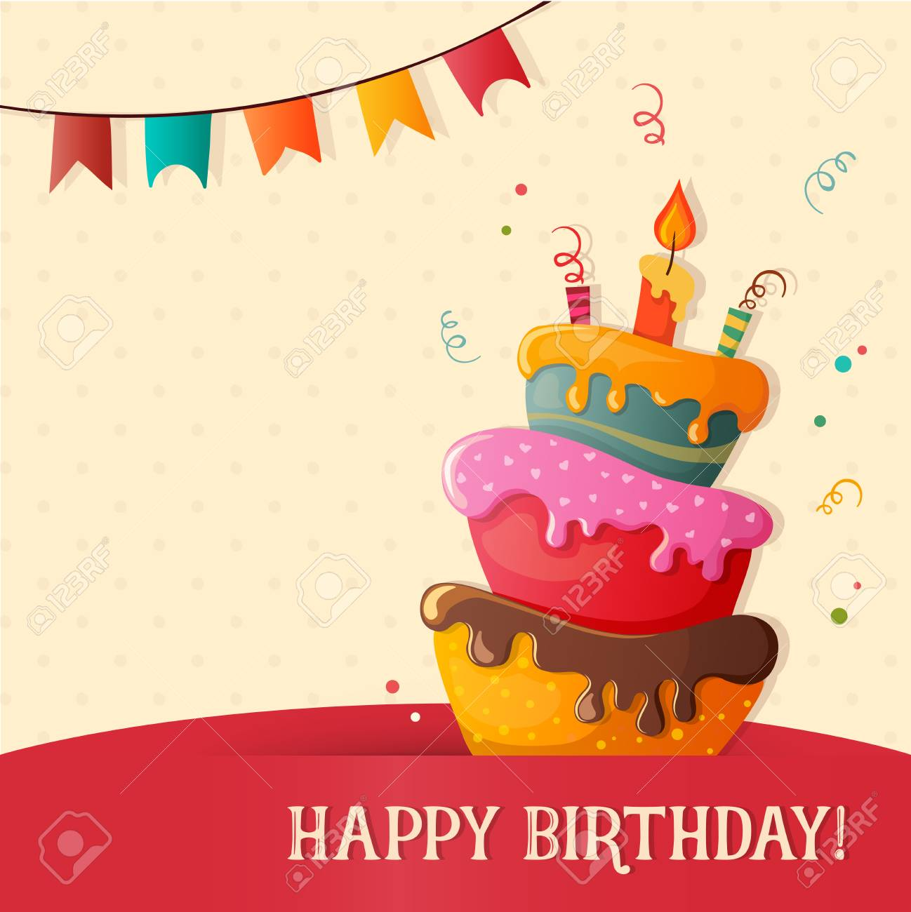 Happy Birthday Greeting Card Template Vector Illustration Royalty