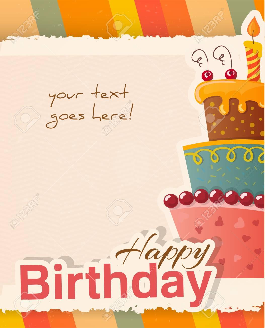 Groovy Happy Birthday Greeting Card Template Vector Illustration Royalty Personalised Birthday Cards Bromeletsinfo