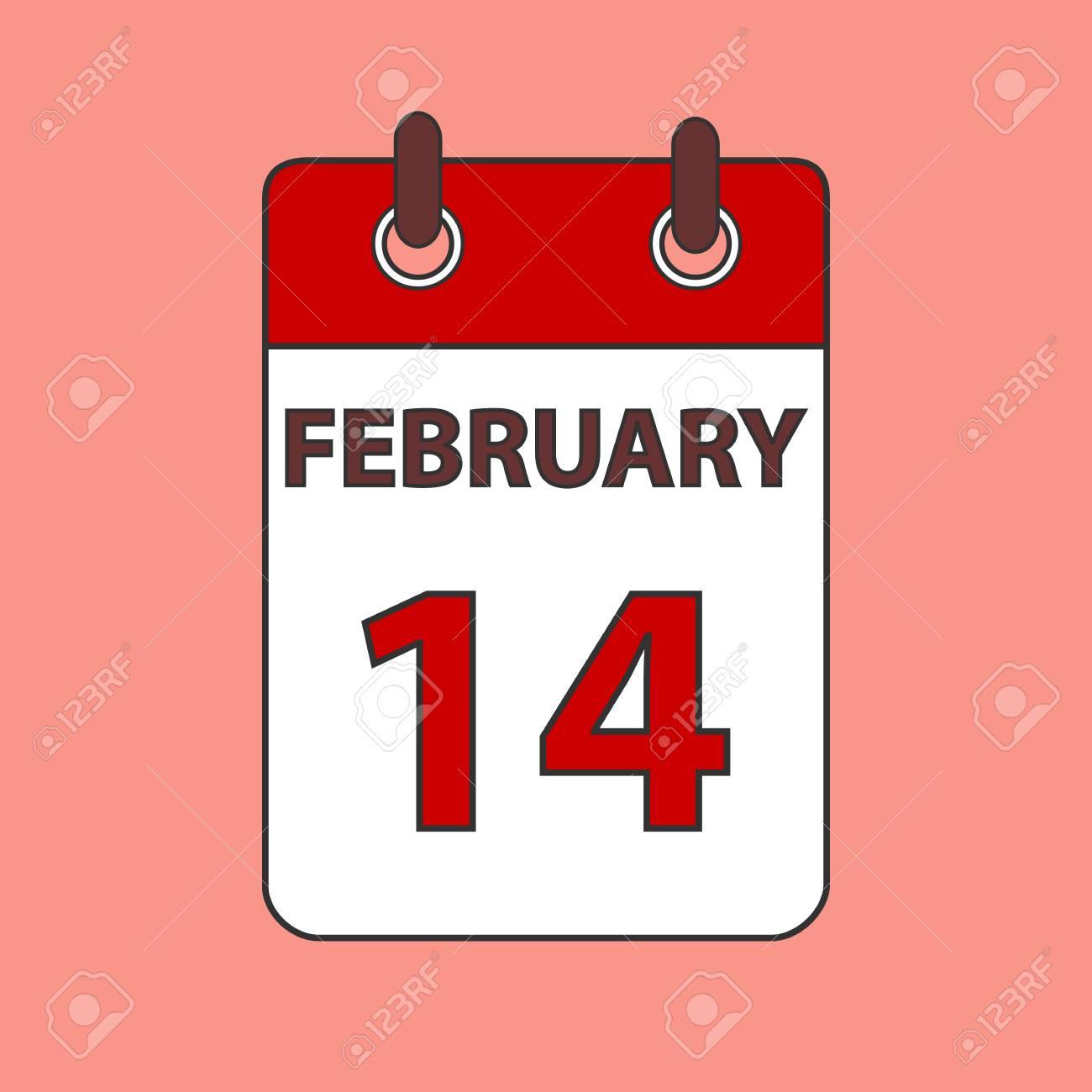 カレンダーの 2 月 14 日のイラスト素材 ベクタ Image