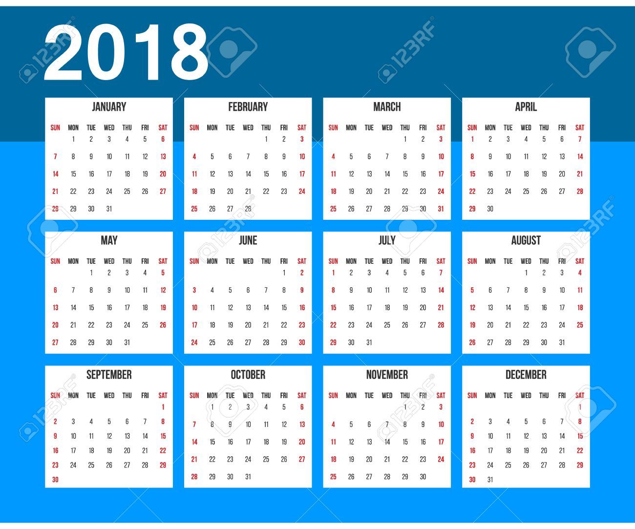american calendar 2018 week starts on sunday office grid for 2018 blue and