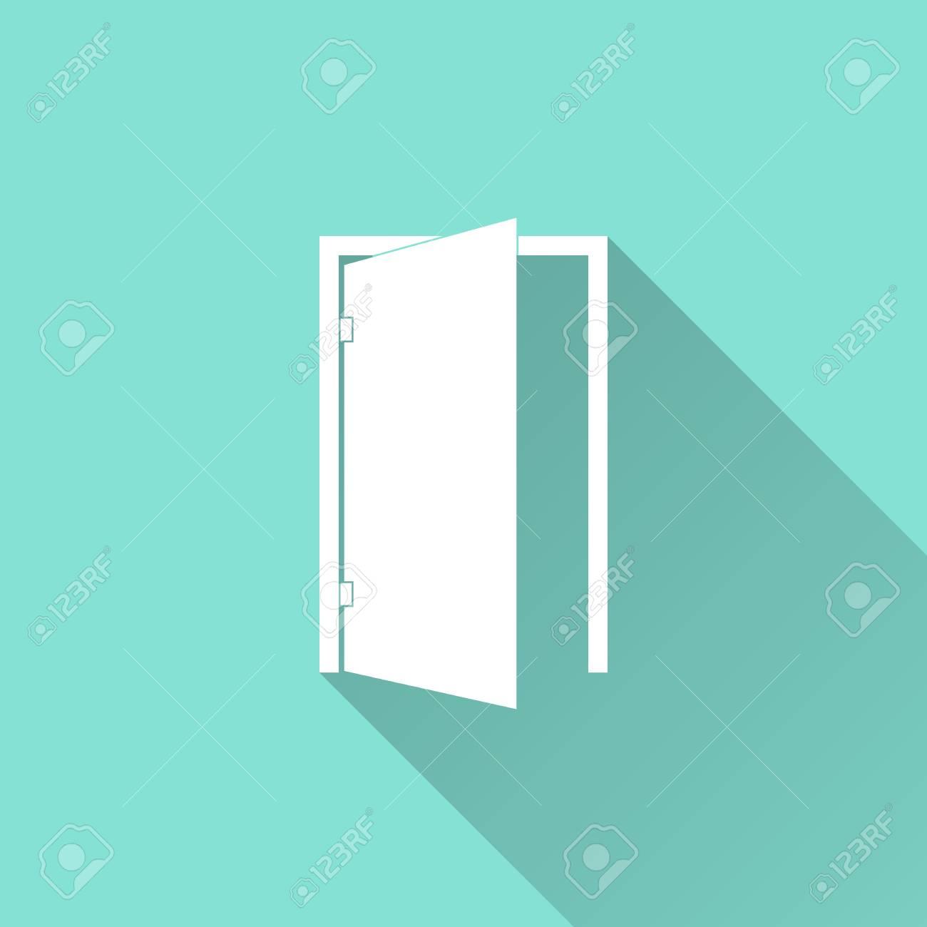 Door icon on a green background. Vector illustration flat design. Stock Vector -  sc 1 st  123RF.com & Door Icon On A Green Background. Vector Illustration Flat Design ...