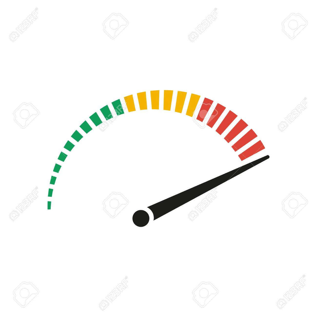 Speedometer - vector icon in black on a white background