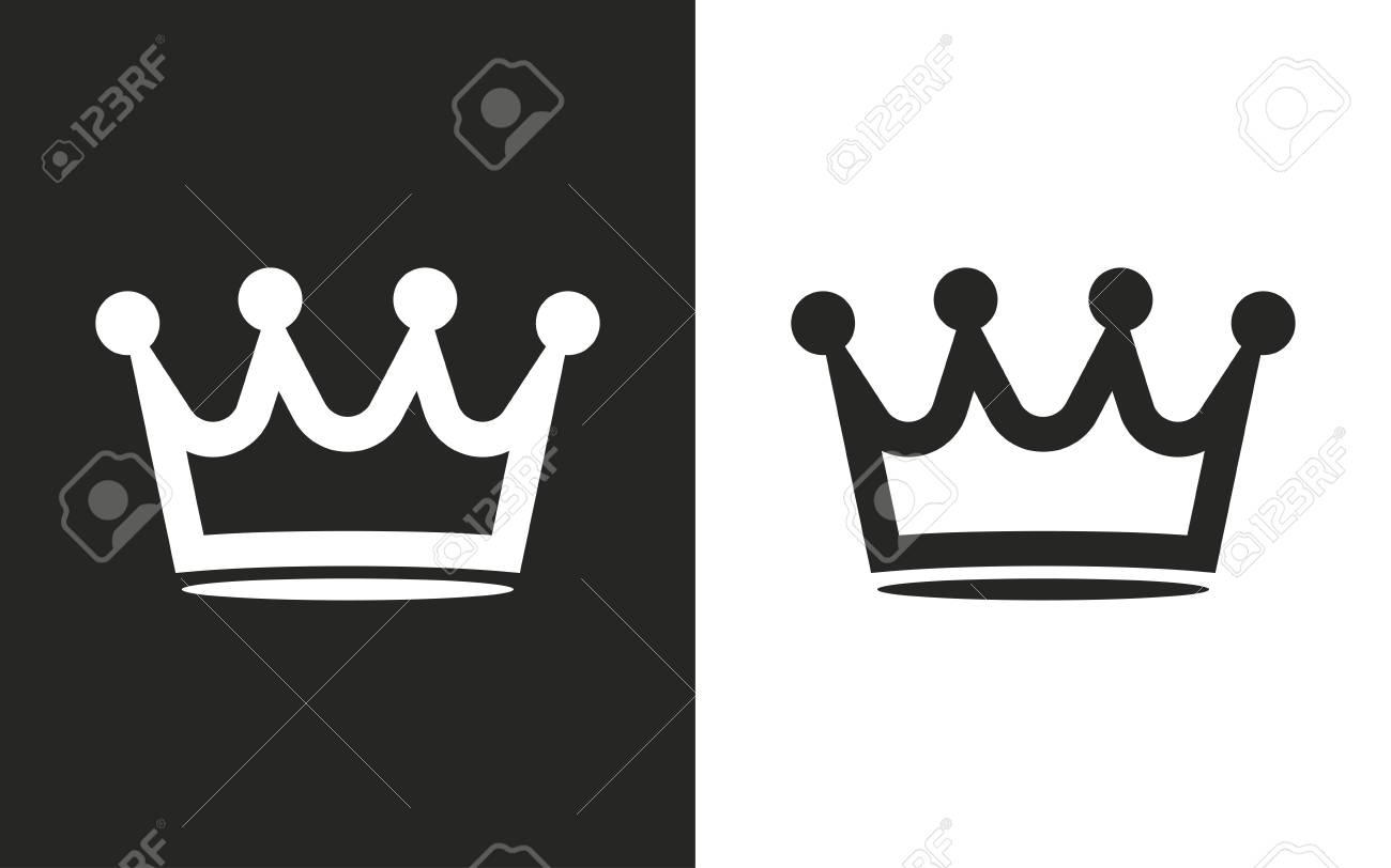 Corona Iconos En Blanco Y Negro Ilustración Vectorial
