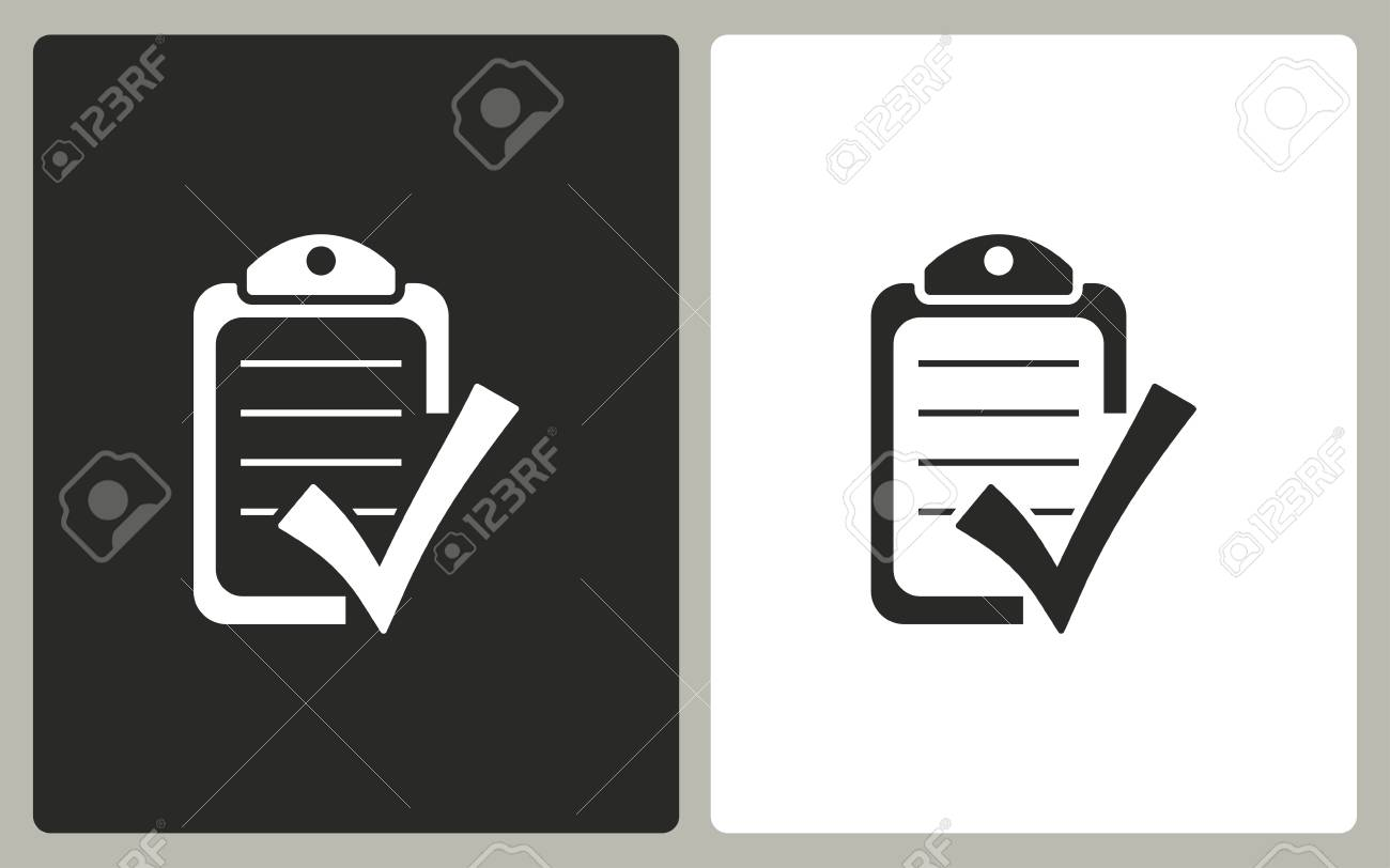 77ac49aa7 Foto de archivo - Lista de comprobación - iconos en blanco y negro. ilustración  vectorial