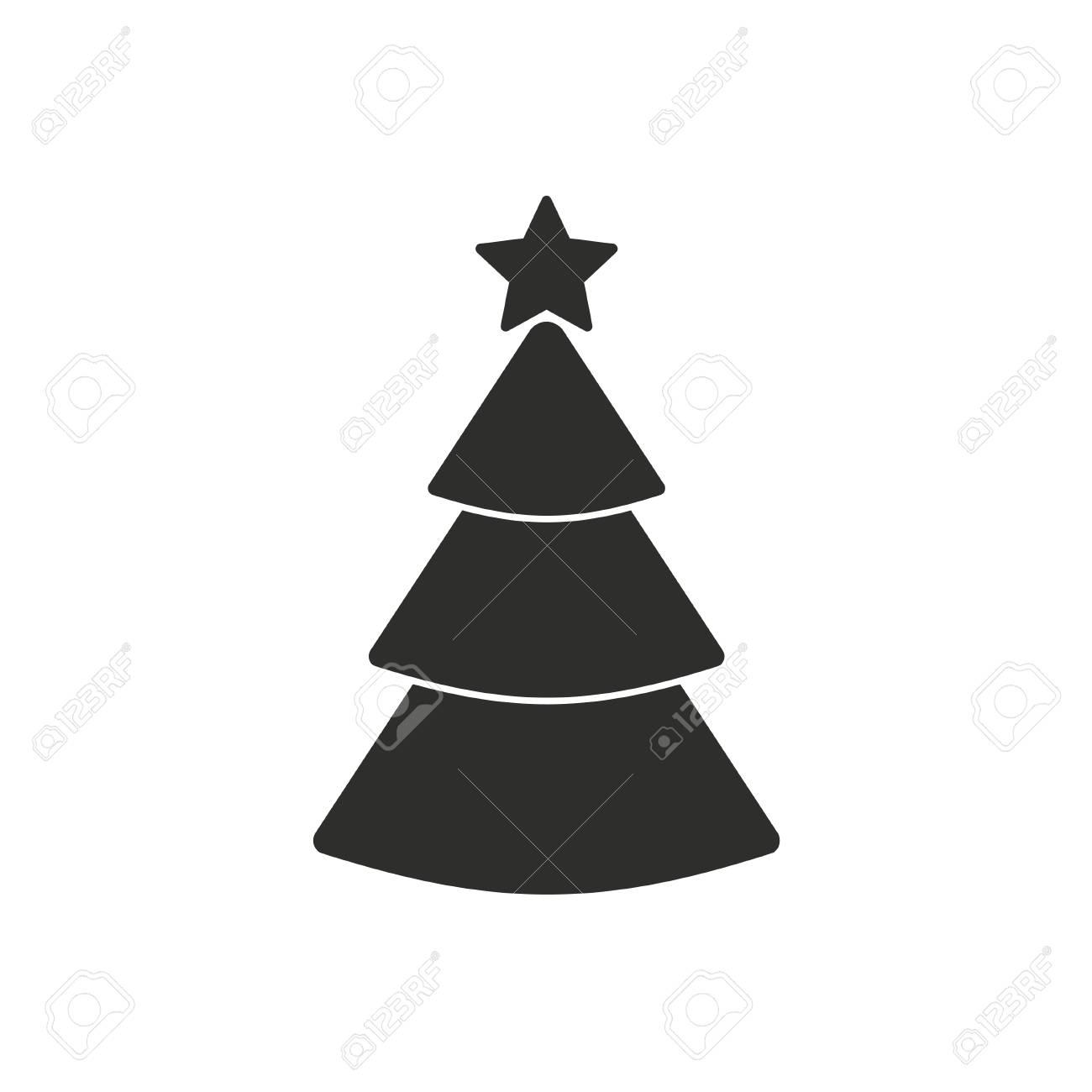 Immagini Dell Albero Di Natale.Icona Dell Albero Di Natale Su Priorita Bassa Bianca Illustrazione Vettoriale
