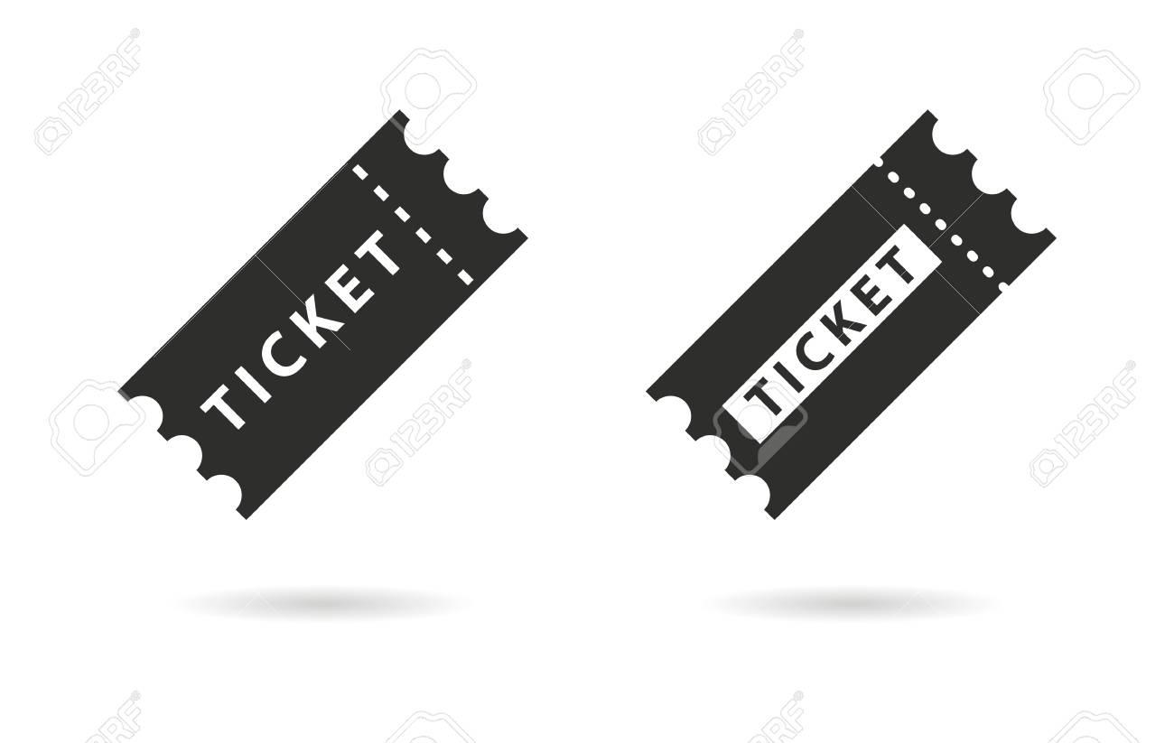 Vettoriale Ticket Di Icone Vettoriali Nero Illustrazione Isolato