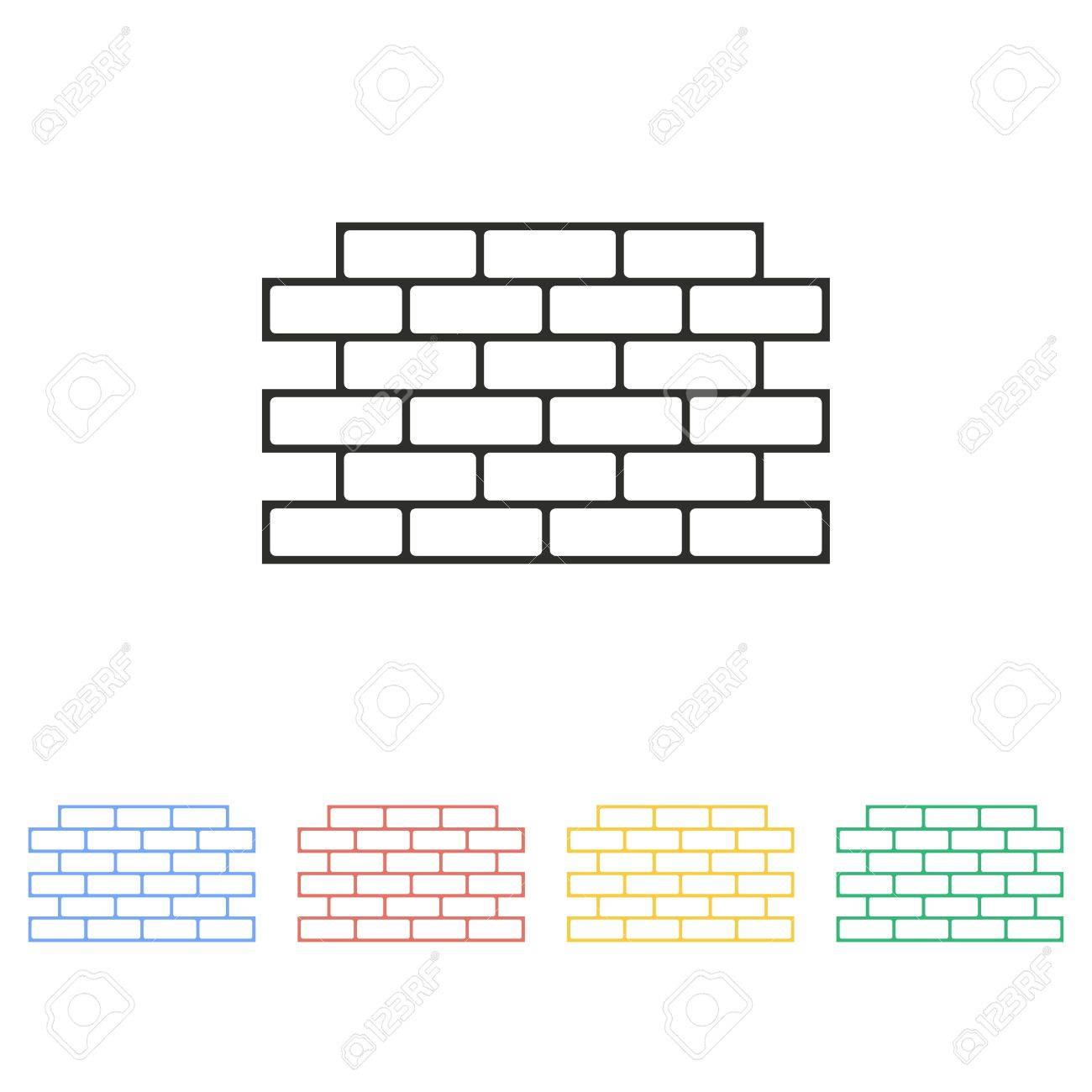 Brick wall vector icon  Illustration isolated on white background