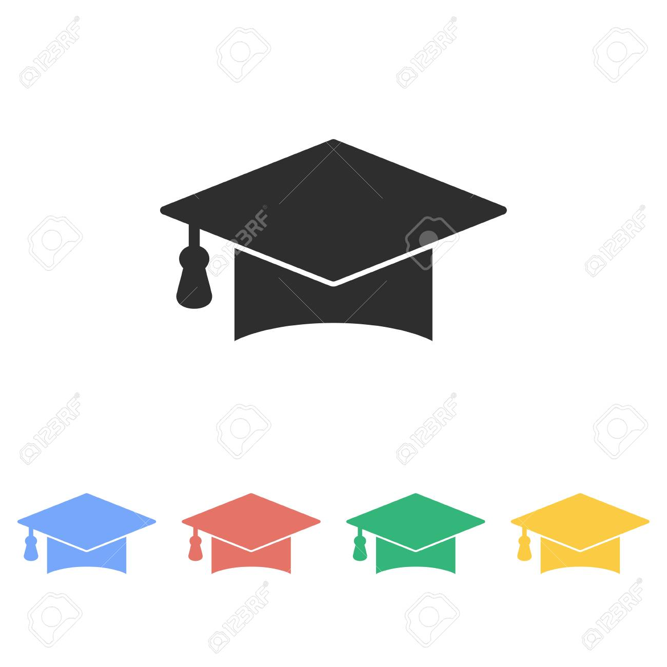 fbc2f40b5f1 Graduation cap vector icon. Illustration isolated on white background for  graphic and web design.
