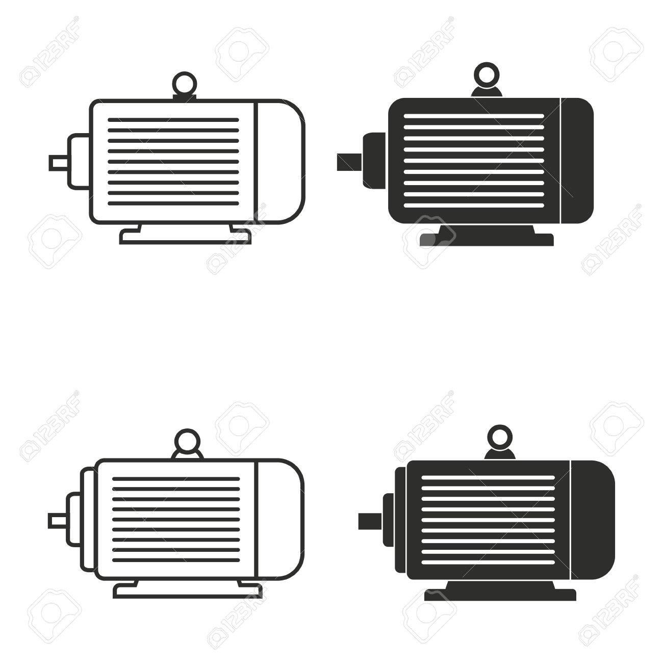 Icônes Vectorielles à Moteur électrique Fixés Illustration Isolé Pour La Conception Graphique Et Web