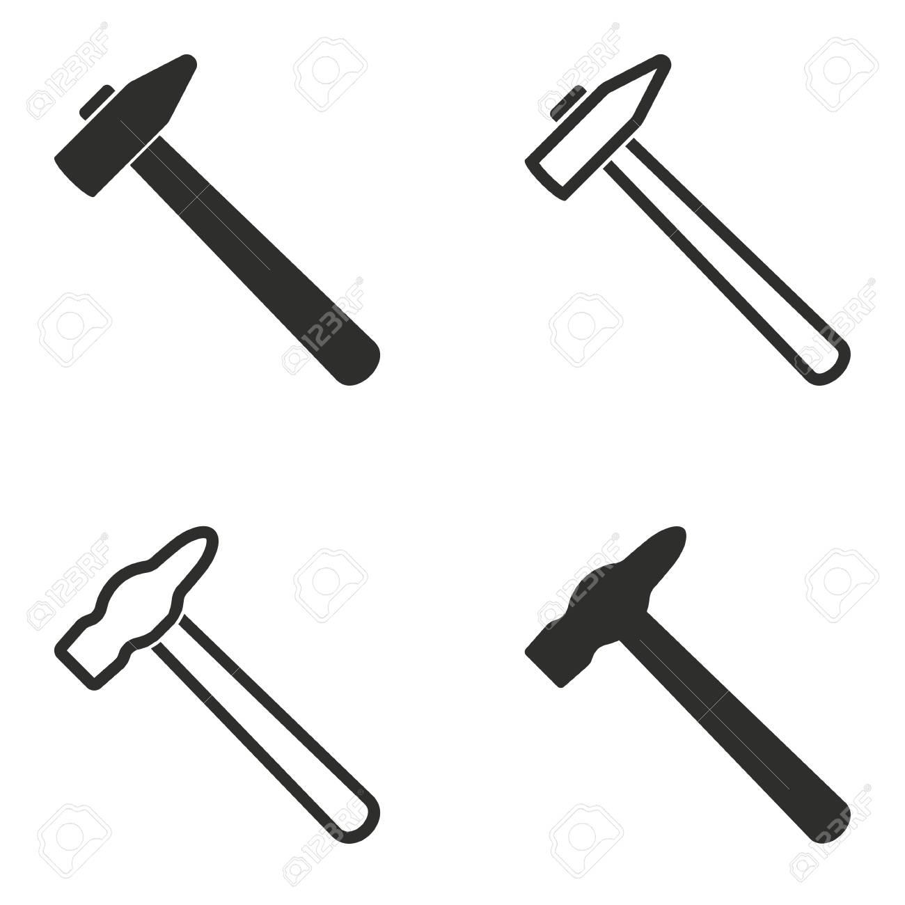 Hamer vector iconen set  Illustratie geïsoleerd voor grafisch en webdesign