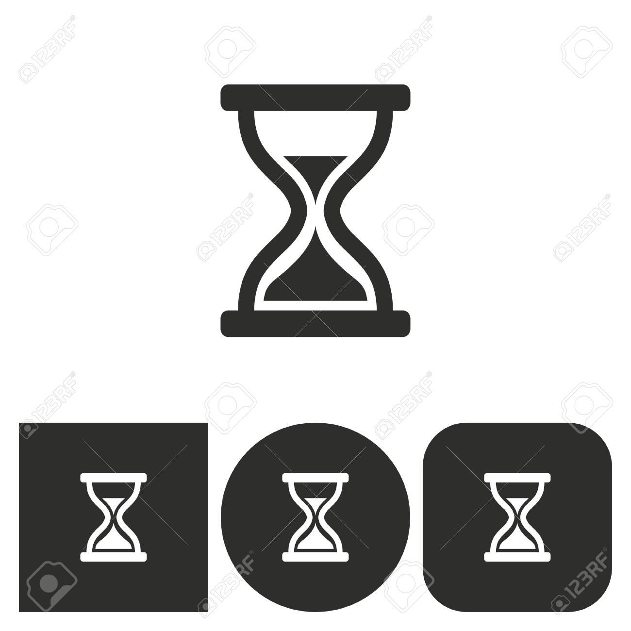Reloj De Arena Iconos En Blanco Y Negro Ilustración Vectorial