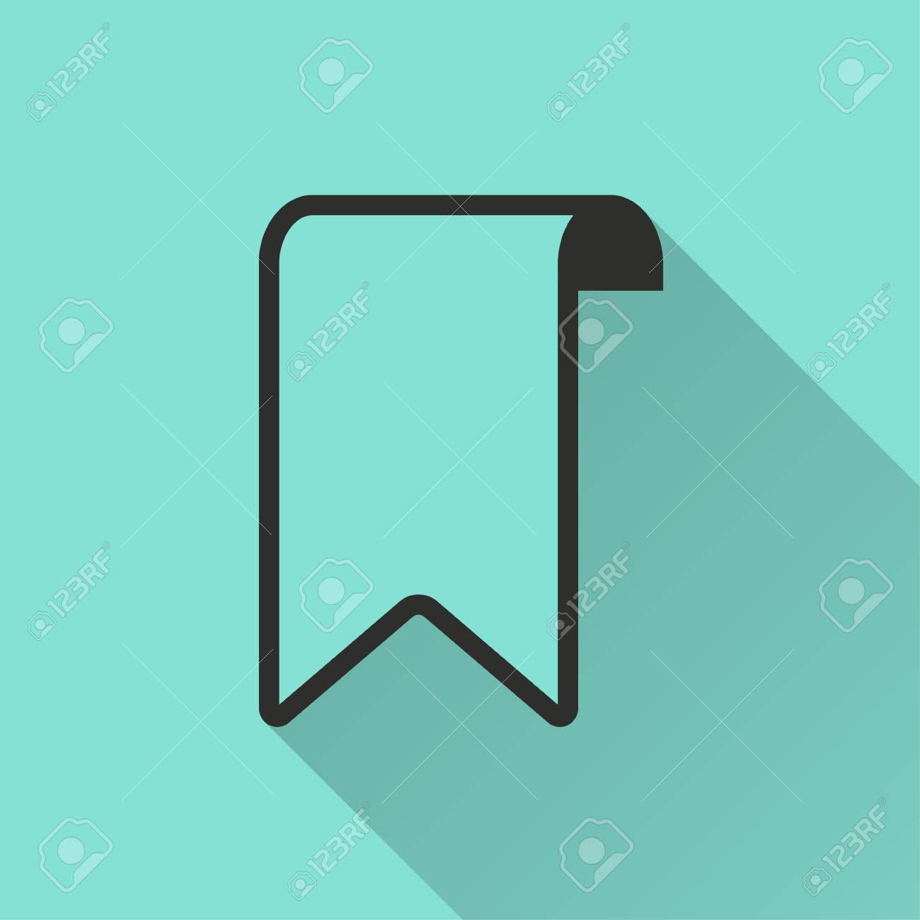 bookmark vector icon with long shadow. black illustration isolated