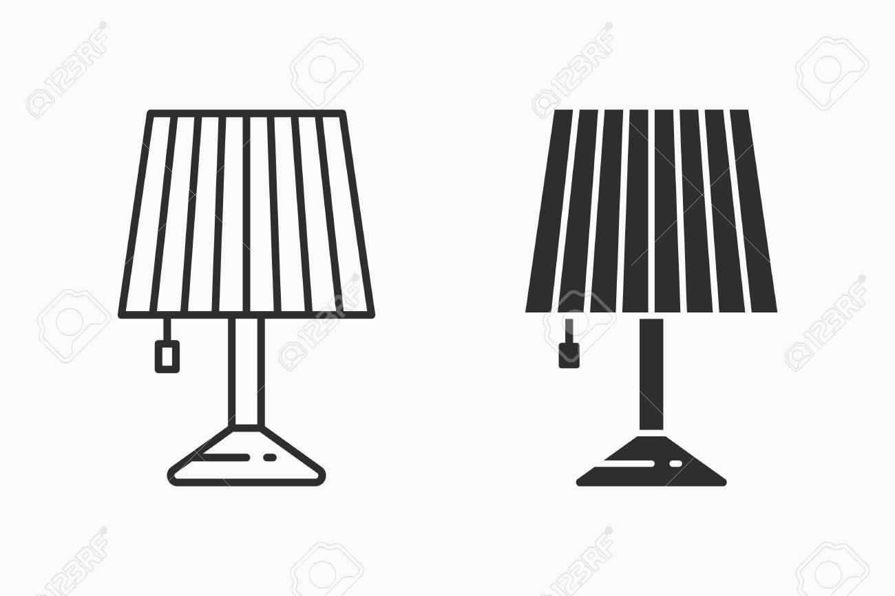 Table Lamp Light Vector Icon Black Illustration Isolated On White