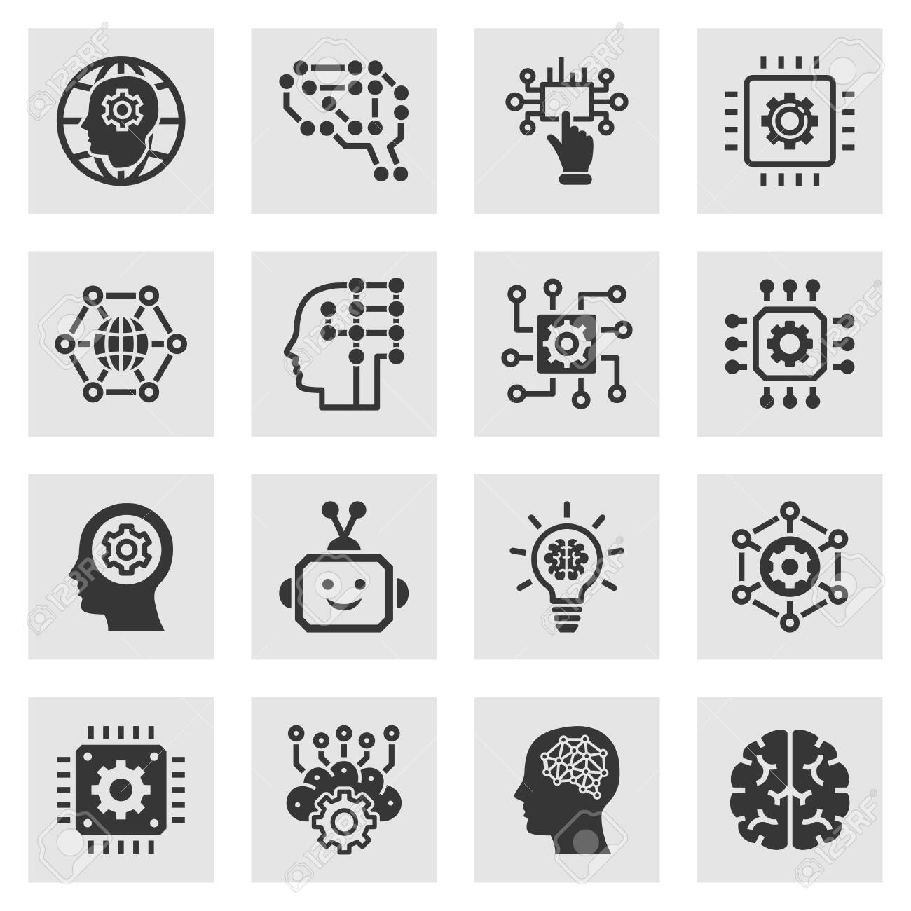Artificial intelligence icons. Set of brain, robot, ai, head, innovation and more. - 141547181