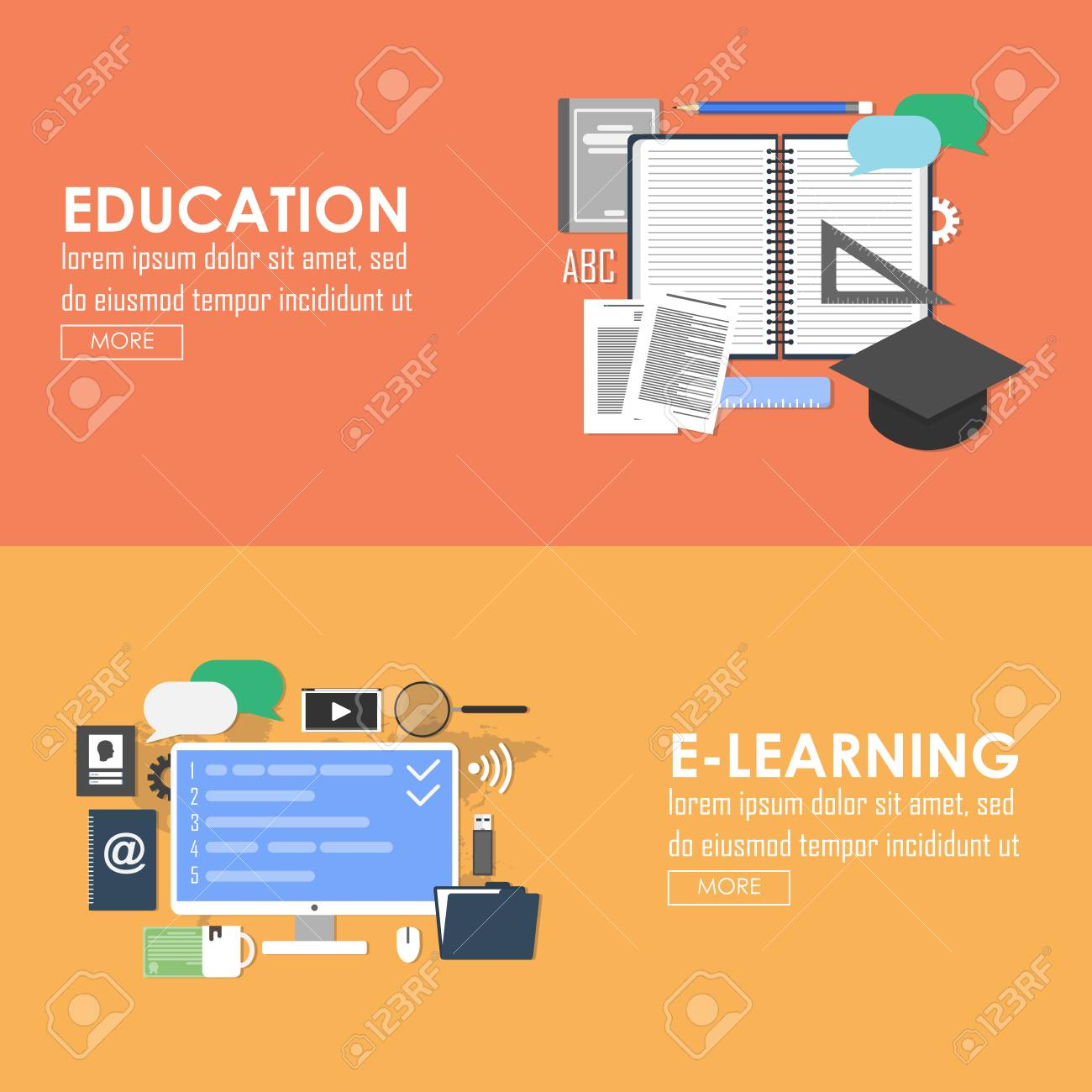 Education And E Learning Vector Banner Online Learning Flat Royalty Free Cliparts Vectors And Stock Illustration Image 45243037