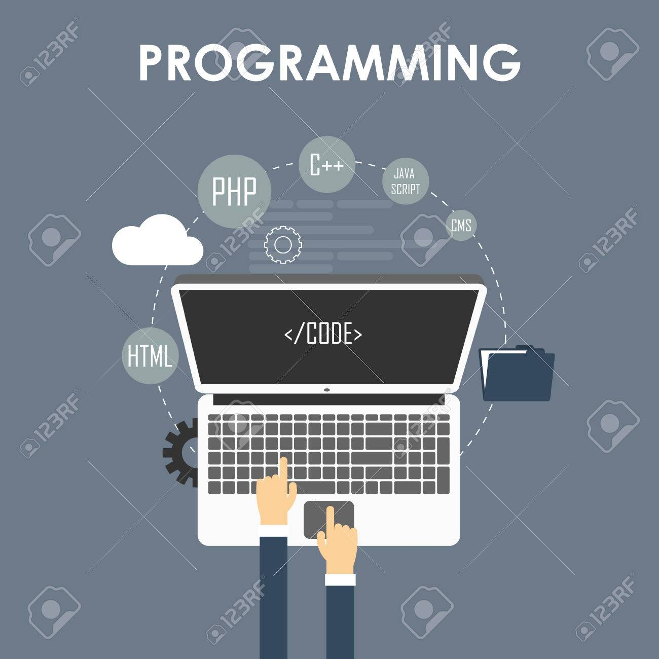 Programming and coding, website development, web design. Flat vector illustration - 46995942