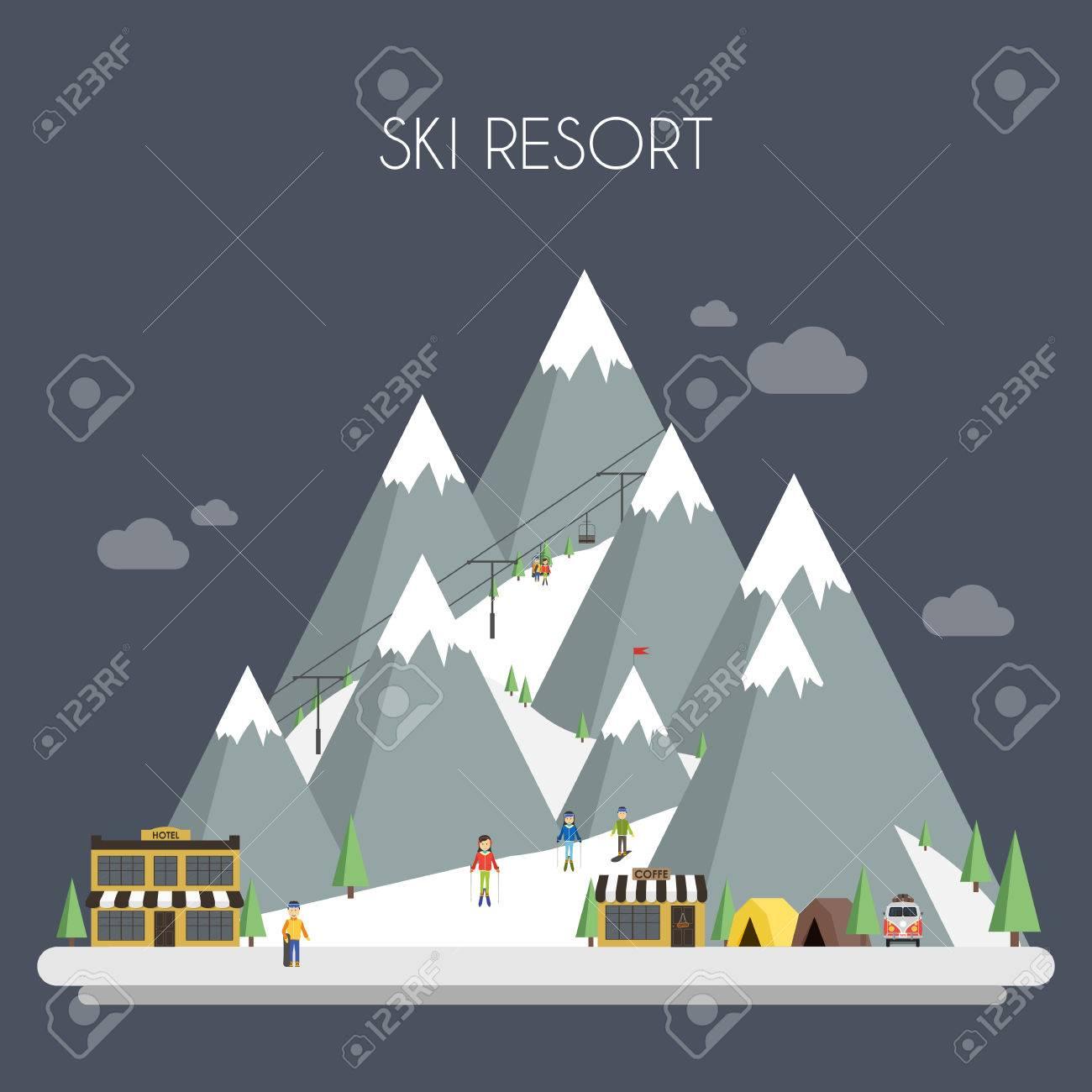 Ski Resort. Mountain landscapes. Vector flat illustrations - 47167102